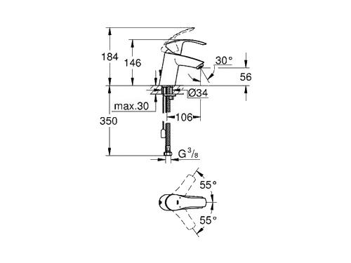 Смеситель для раковины Grohe Eurosmart New 33188002, хром, вид 2