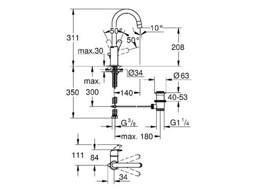 Смеситель Grohe Eurosmart New 23537002 (с донным клапаном), вид 2