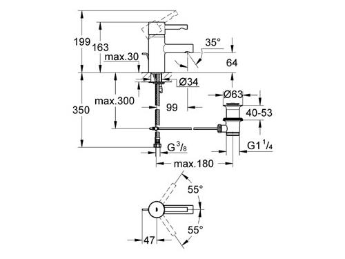 Смеситель Grohe Essence 33562000 (с донным клапаном), вид 2