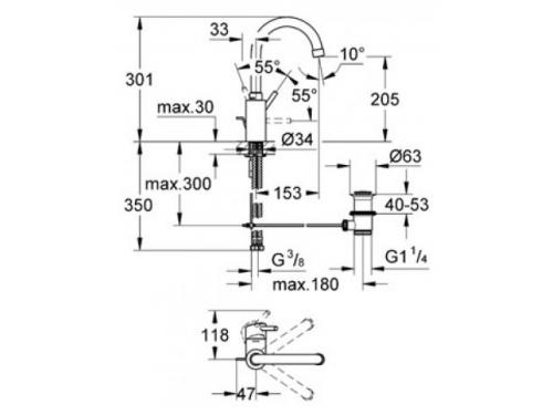 Смеситель Grohe Concetto 32629001 (с донным клапаном), вид 2