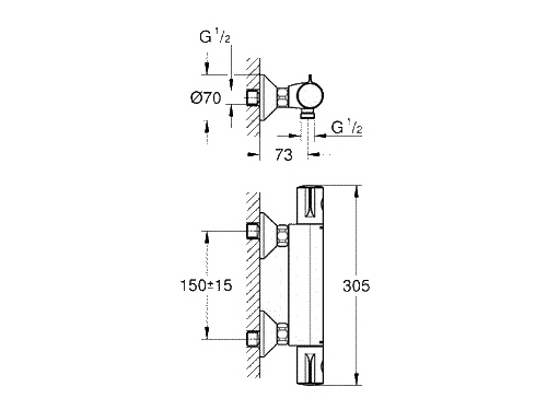 Термостат для душа Grohe Grohterm 800 34558000, хром, вид 2