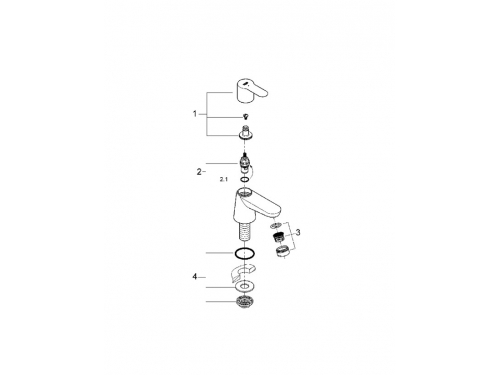 Вентиль для раковины Grohe 20421000 BauEdge (без смешивания), хром, вид 2