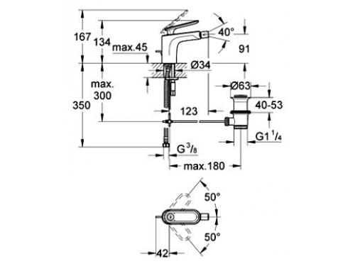 Смеситель для биде Grohe Veris 32193 (с донным клапаном), вид 2