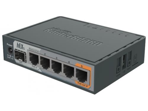 Роутер MikroTik hEX S RB760iGS (1x SFP, 5x Ethernet, PoE, USB, microSD), вид 2