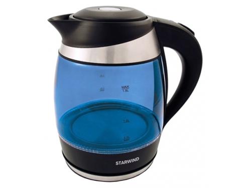 Чайник электрический Starwind SKG2216, синий/черный, вид 1