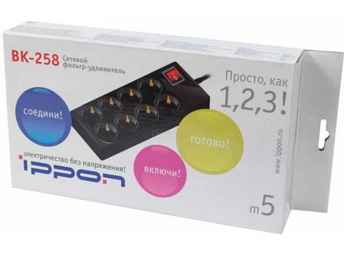 Сетевой фильтр Ippon BK - 258, черный, вид 3