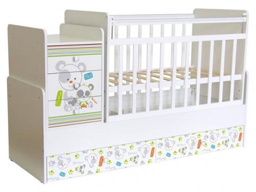 Детская кроватка Фея 1100 Панды, белая, вид 1
