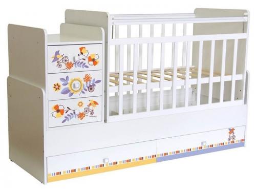 Детская кроватка Фея 1100 Прогулка, белая, вид 1