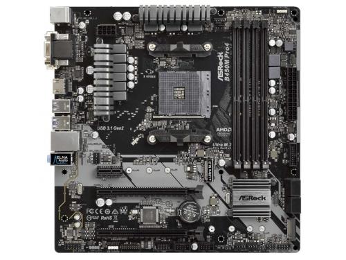 Материнская плата ASRock B450M Pro4 Soc-AM4, AMD, mATX, DDR4, SATA3, USB 3.1, GigaLAN, вид 2