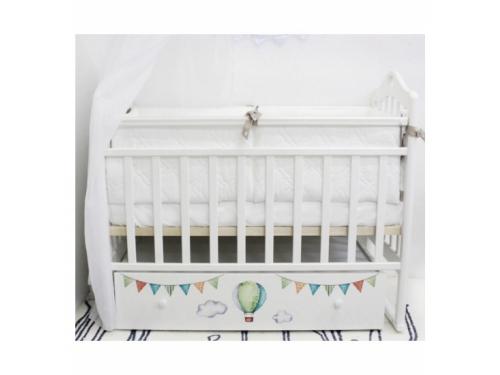 Детская кроватка By Twinz Мэри Путешествие на шаре (поперечный маятник), белая, вид 1