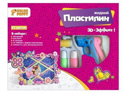 Пластилин Color Puppy Набор для декорирования фоторамки с жидким пластилином, 12 цветов, пистолет 95333, вид 1