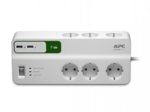 Сетевой фильтр APC PM6U-RS, 6 розеток, 2 м., белый, вид 3