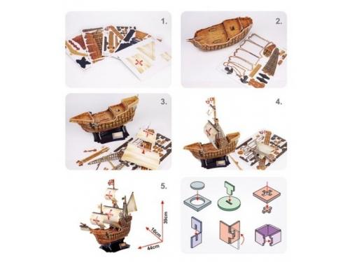 Конструктор CubicFun Корабль Санта Мария T4008h, 3D конструктор, вид 6