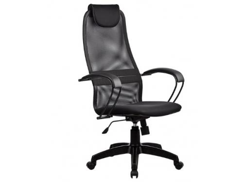Компьютерное кресло Метта  BР-8 PL № 20, черная сетка , металлические подлокотники, вид 1