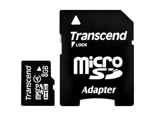 Карта памяти Transcend TS8GUSDHC4 (8Gb + adapter), вид 1