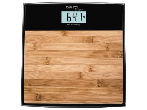 Напольные весы Scarlett SC-BS33E064, бамбук/черные, вид 1