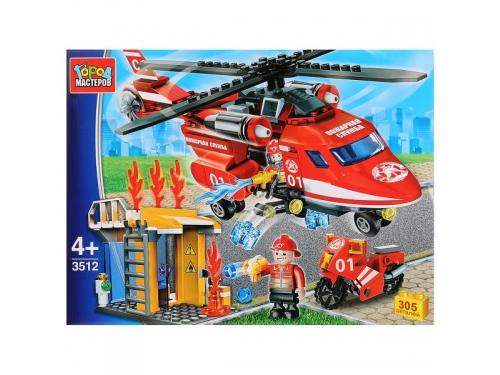 Конструктор Город мастеров (LP-3512-R) Пожарный вертолет, с фигурками, вид 2