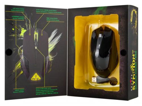 Мышка Oklick 765G Symbiont, черная с рисунком, вид 3