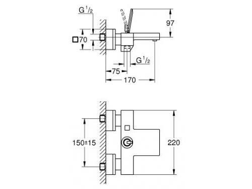 Смеситель для ванны Grohe Eurocube Joy 23666000, вид 2