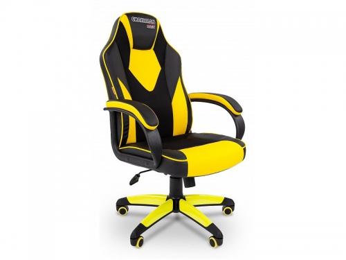 Игровое компьютерное кресло Chairman game 17 экопремиум (7028515), черное/желтое, вид 1