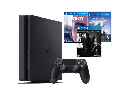 Игровая приставка Sony PlayStation 4 Slim 1Tb (СUH-2208B), черная +Detroit+HZD+Одни из нас, вид 2
