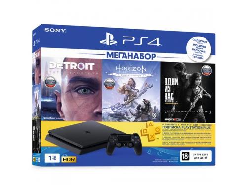 Игровая приставка Sony PlayStation 4 Slim 1Tb (СUH-2208B), черная +Detroit+HZD+Одни из нас, вид 1