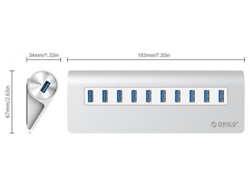 USB-концентратор Orico M3H10 (серебристый), вид 2
