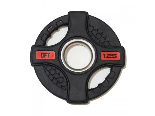Диск для штанги Original Fit.Tools FT-2HGP-1,25 олимпийский обрезиненный с двумя хватами (1,25 кг), черный, вид 1