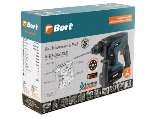 Перфоратор Bort BHD-18X-BLK Li-Ion 18 В (1.7 Дж) аккумуляторный, вид 6