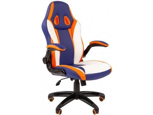 Игровое компьютерное кресло Chairman game 15 синий/белый/оранжевый, вид 1