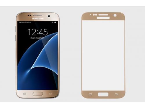 Защитное стекло для смартфона Ainy для Samsung Galaxy S7 Full Screen Cover, золотистое, вид 1