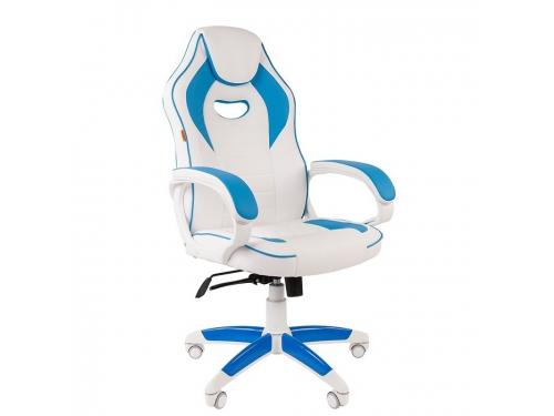 Игровое компьютерное кресло Chairman game 16 (7030049), белое/голубое, вид 1