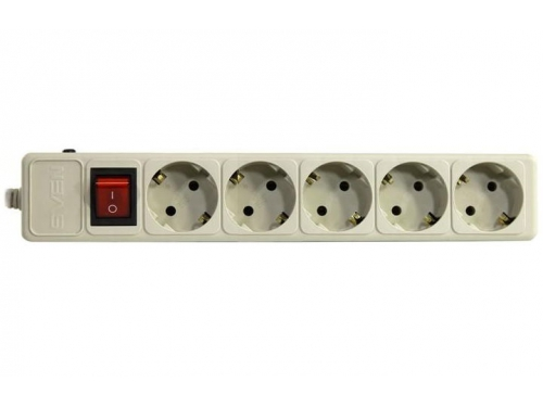 Сетевой фильтр SVEN Optima Base, 5 розеток, 3 м, серый, вид 1