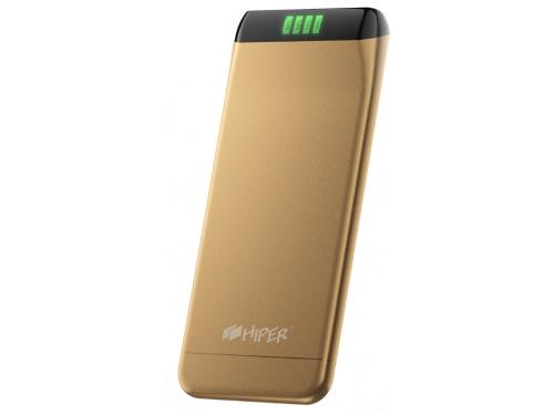 Аксессуар для телефона Hiper SLS6300, портативный аккумуляор, 6300 мАч, 2.1 А, USB, золотистый, вид 1