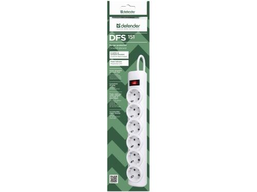 Сетевой фильтр Defender DFS 151, белый, вид 2