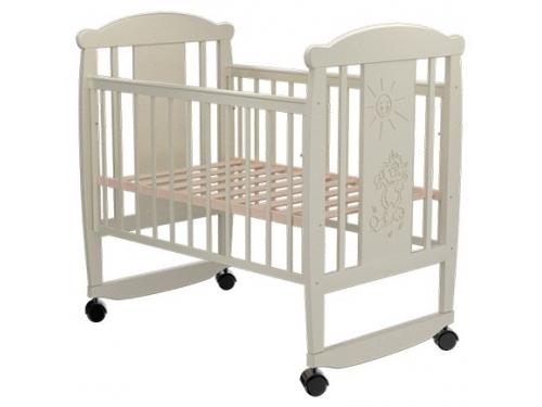 Детская кроватка Valle Cat 02 колесо-качалка б/ящ. - слоновая кость, вид 1