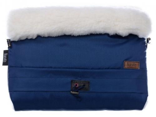 Муфта для коляски Nuovita Alaska Bianco Темно-синяя меховая, вид 1