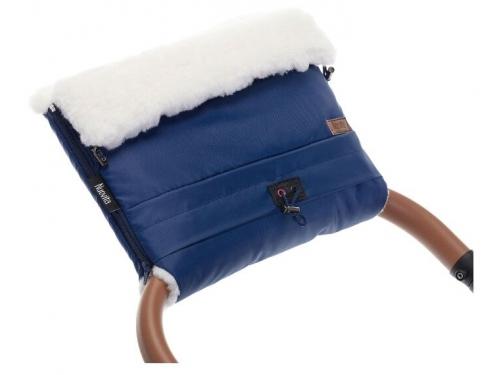 Муфта для коляски Nuovita Alaska Bianco Темно-синяя меховая, вид 2