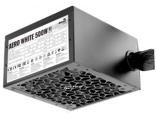 Блок питания компьютерный AeroCool Aero White 500W, 80+ (24+4+4pin), APFC, 120mm fan, вид 2