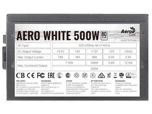 Блок питания компьютерный AeroCool Aero White 500W, 80+ (24+4+4pin), APFC, 120mm fan, вид 3
