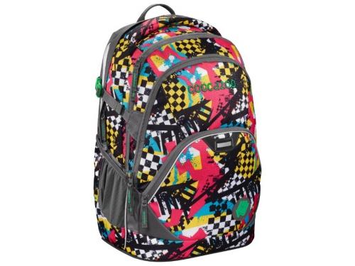 Рюкзак городской Coocazoo EvverClevver2 Checkered Bolts серый/красный, вид 1