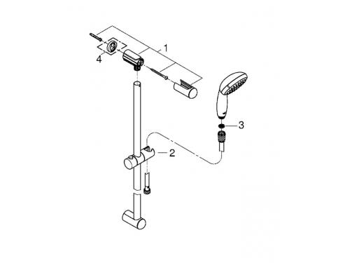 Душевой гарнитур Grohe 27853000 Tempesta Classic (ручной душ, штанга 600 мм, шланг 1750 мм), хром (27853000), вид 2