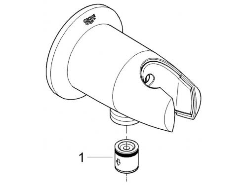 Подключение для душевого шланга Grohe 28406000 Movario с держателем, хром, вид 3