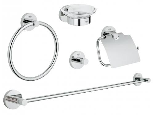 Набор аксессуаров для ванной комнаты Grohe 40344001 Essentials (5 предметов), хром (40344001), вид 1