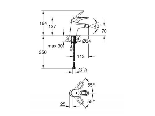 Смеситель для биде Grohe 33566003 Eurostyle new с цепочкой, хром (33566003), вид 1