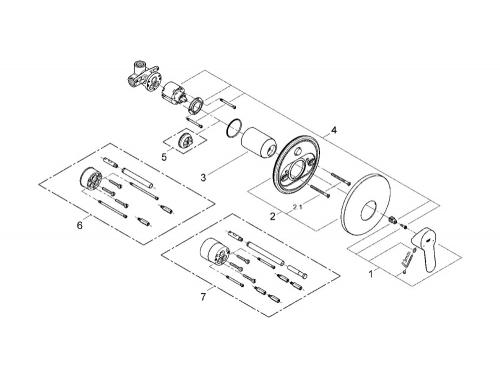 Смеситель для душа Grohe 29078000 BauEdge (со встраиваемым механизмом), хром, вид 2