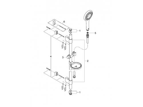 Душевой гарнитур Grohe 27529000 Rainshower Icon 100 (ручной душ, штанга 600 мм, шланг 1750 мм), хром, вид 2