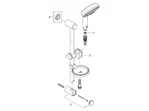 Душевой гарнитур Grohe 27139000 Rainshower Rustic (ручной душ, штанга 600 мм, шланг 1750 мм), хром, вид 2