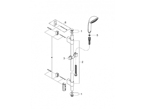 Душевой гарнитур Grohe 28831000 Relexa Trio (ручной душ, штанга 900 мм, шланг 1750 мм), хром, вид 2