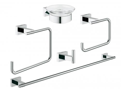 Набор аксессуаров для ванной комнаты Grohe 40758001 Essentials Cube (5 предметов), хром (40758001), вид 1